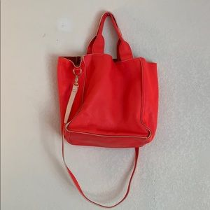 Gap Neon Orangey Pink Leather tote